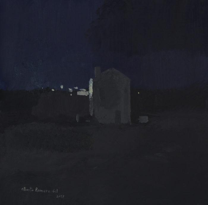 La casa de noche, 2017 25x25 cm óleo obre papel