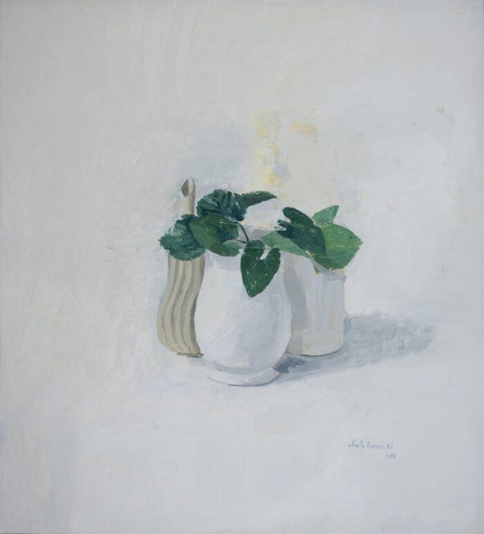 Composición con hojas verdes I