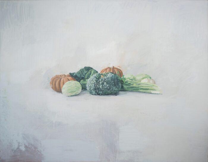 Bodegón con calabaza y coles